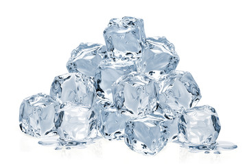 Melted clear ice cubes pile isolated on white background