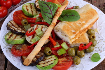 Pita with suluguni cheese and grilled vegetables