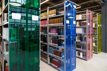 library concept for university or school. books ,table ,chair in the library.