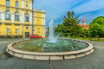 Varazdin fountain square Croatia. / Scenic view at square with marble fountain in Varazdin city center, Croatia Europe.