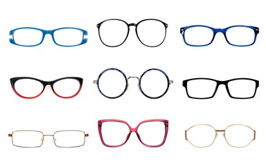 Glasses isolated on white background for applying on a portrait Wall mural