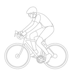 cyclist in a helmet , vector illustration , profile side, lining
