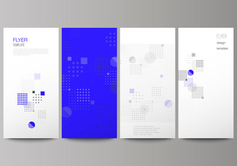 The minimalistic vector illustration of the editable layout of flyer, banner design templates. Abstract vector background with fluid geometric shapes.