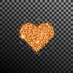 Gold Glitter Heart Vector
