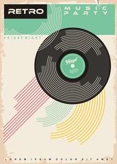 Fototapeta Retro music party poster design. Vinyl record gramophone disc on old paper texture. obraz