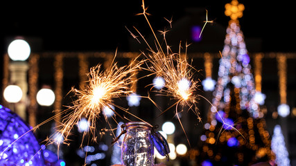 Christmas tree light night blur bokeh holiday abstract background Sparkler