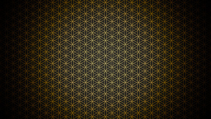 3D Illustration - genesis pattern - the flower of life gold black