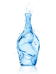 Bottle made of water. Conceptual image isolated on white background