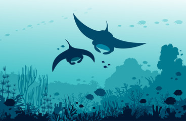 Two mantas, coral reef and fishes on a sea. Underwater ocean.