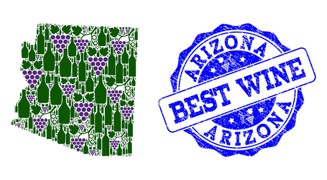 Vector collage of grape wine map of Arizona State and grunge seal stamp for best wine. Map of Arizona State collage formed with bottles and grape berries.