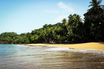 White sand beach on the beautiful island of Principe, São Tomé and Príncipe