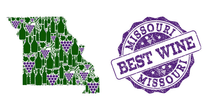 Vector collage of grape wine map of Missouri State and grunge seal for best wine. Map of Missouri State collage composed with bottles and grape berries.