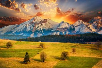 Fototapeta Polish mountains Tatry at sunset obraz