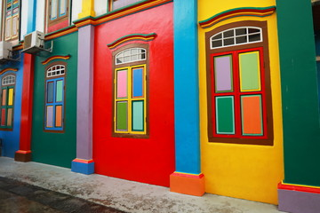 colorful building in old indian quarter of Singapore