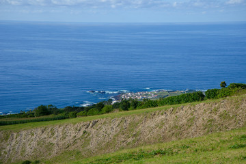 panoramic view of the ocean from a high hill in portugal, azores island