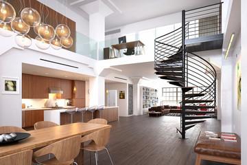 3d render of luxury modern house interior