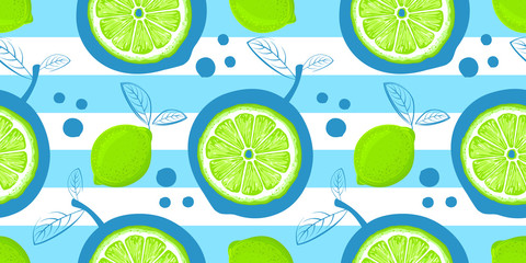 Lime vector seamless pattern. Sketch limes. Citrus fruit background. Elements for menu, greeting cards, wrapping paper, cosmetics packaging, posters etc