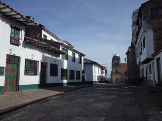The Basilica of Mongui in the central plaza, Boyaca, Colombia