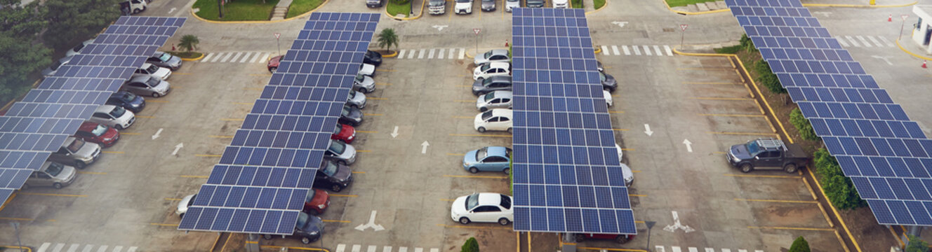 Parking lot with solar panel on roof