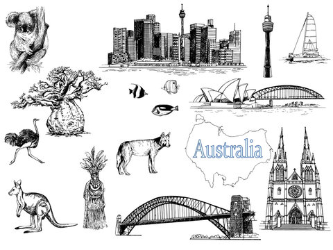 Set of hand drawn sketch style Australia themed objects isolated on white background. Vector illustration.