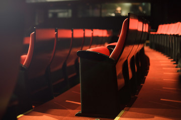 Deurstickers Theater red theater seats
