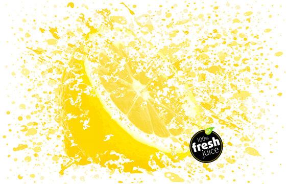 Lemon juice splashing with its fruits isolated on white background. Blast of fresh drink. EPS Illustration – Vector