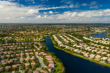 Drone shot residential houses Pembroke Pines Florida aerial