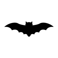 Bat Silhouette - Black flying bat silhouette isolated on white background