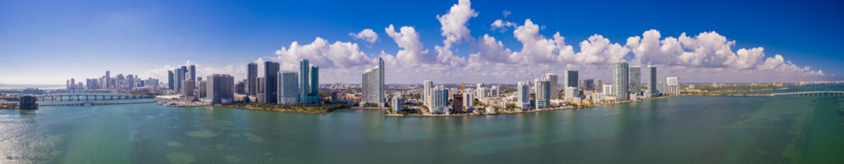 Aerial drone panorama Miami Florida downtown edgewater scenic sky