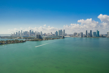 Aerial far shot of Downtown Miami Florida