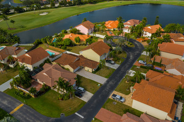 Aerial photo residential neighborhood Pembroke Pines Florida
