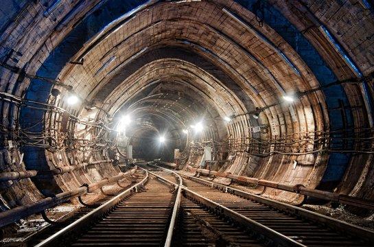 Rail crossing at subway tunnel