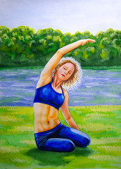 Watercolor painting - a girl practices yoga in nature, on the banks of the river