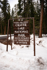 Sign Marking Crater Lake National Park Boundary