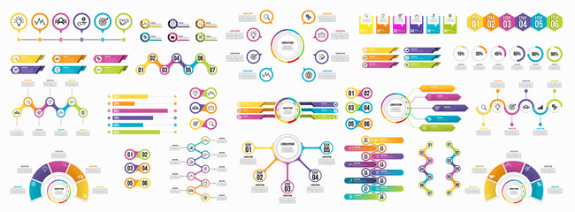 Set of Infographics Elements Data Visualization Template Design Vector Editable