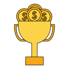 business trophy dollar coins money