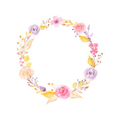 Watercolor floral wreath with gold and pink. Arrangement of roses, flowers, leaves for Valentine's Day, wedding, cards, invitations, greeting cards.
