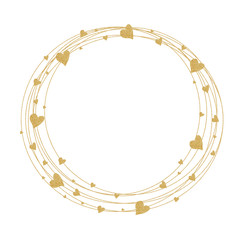 Wreath with golden hearts. Template for Valentine's day, wedding, cards, invitations, greeting cards.