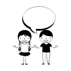 happy boy and girl speech bubble