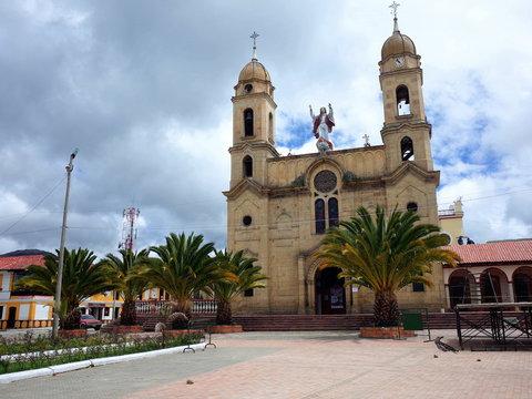 The main plaza of Aquitania in Boyaca, Colombia. The main plaza houses the church onion monument