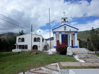 A small church at the top of a hill in Nobsa, Colombia