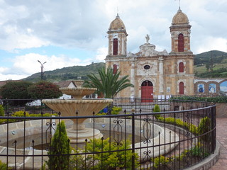 The main square and church of Tibasosa, Colombia