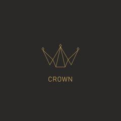 Geometric crown logo symbol in monoline simple abstract premium modern style