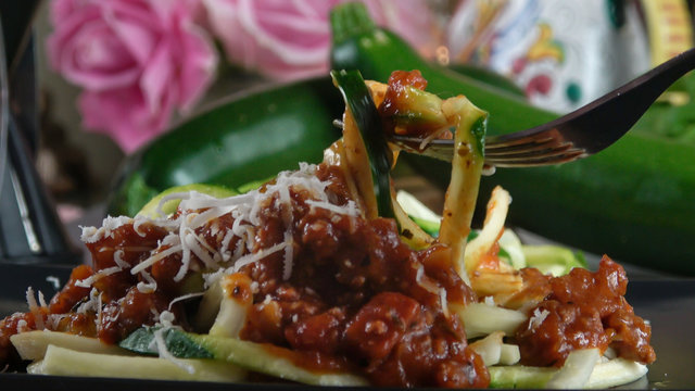 Zucchini Noodles with Bolognese Sauce. Healthy Low Carb Keto Diet Zoodle Dish.