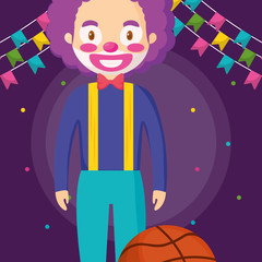 circus clown funny character with basket balloon