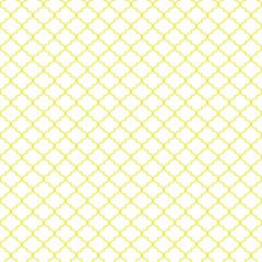 Quatrefoil Seamless Pattern - Minimalist yellow and white quatrefoil or trellis design