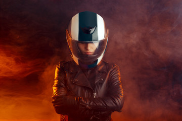 Biker Woman with Helmet and Leather Outfit Portrait Wall mural
