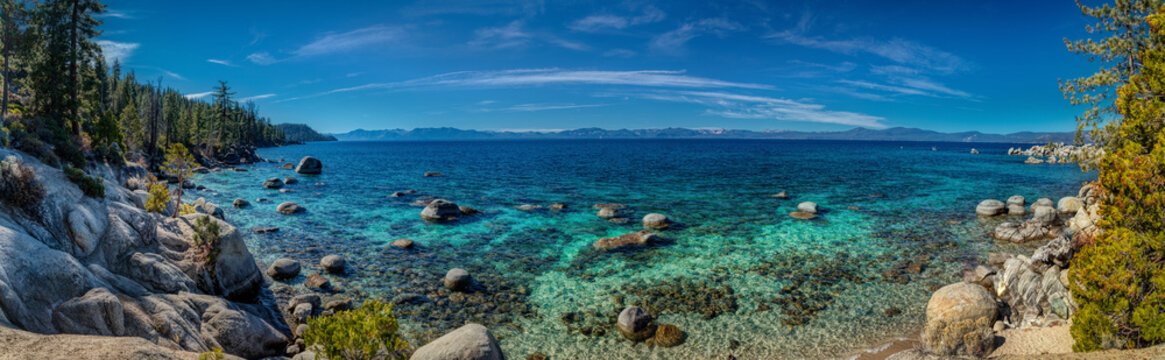 Deep Blue and Turquoise Water at Lake Tahoe Panorama