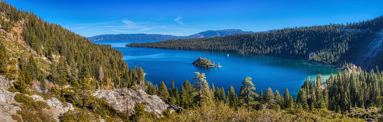 Emerald Bay and Fannette Island Panorama Wall mural