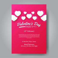 Valentine's day party poster template. Romance love. Vector illustration